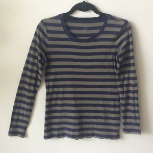 Gap navy and green striped long sleeve